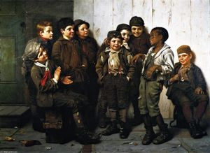 Order Oil Painting A Jolly Lot, 1885 by John George Brown (1831-1913, United Kingdom) | WahooArt.com | Order Hand Painted Oil Painting A Jolly Lot, 1885 by John George Brown (1831-1913, United Kingdom) | WahooArt.com