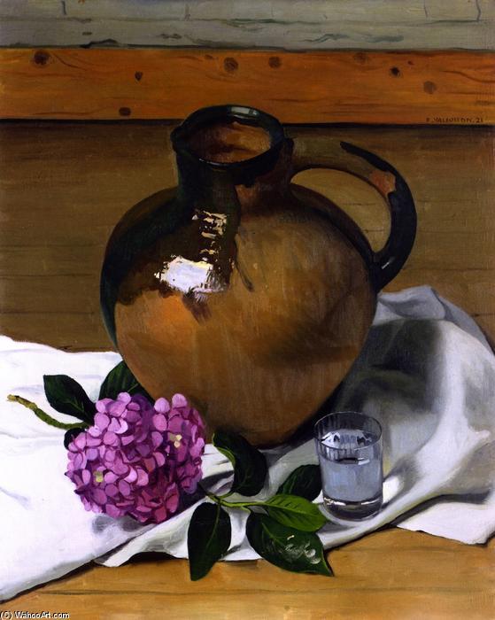 Jug and Hydrangea, Oil On Canvas by Felix Vallotton (1865-1925, Switzerland)