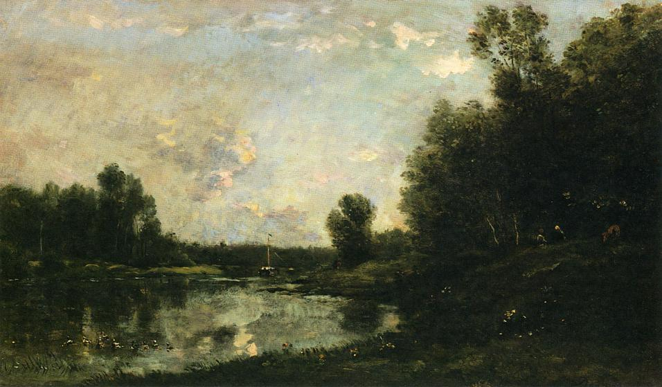 A June Day, Oil On Panel by Charles François Daubigny (1817-1878, France)