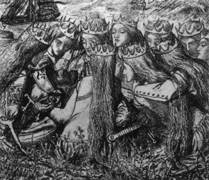 Dante Gabriel Rossetti - King Arthur and the Weeping Queens