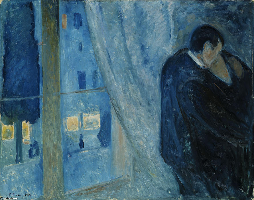 Kiss by the window, 1892 by Edvard Munch (1863-1944, Sweden)