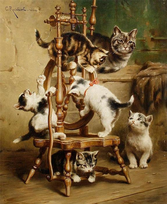 Order Oil Painting : Kittens playing on a spinning wheel by Carl Reichert (1836-1918, Germany) | WahooArt.com