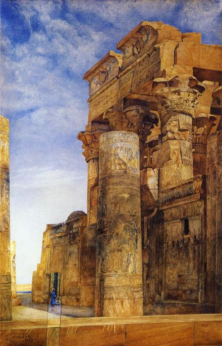 Kom Ombo, Watercolour by Henry Roderick Newman (1833-1918, United States)