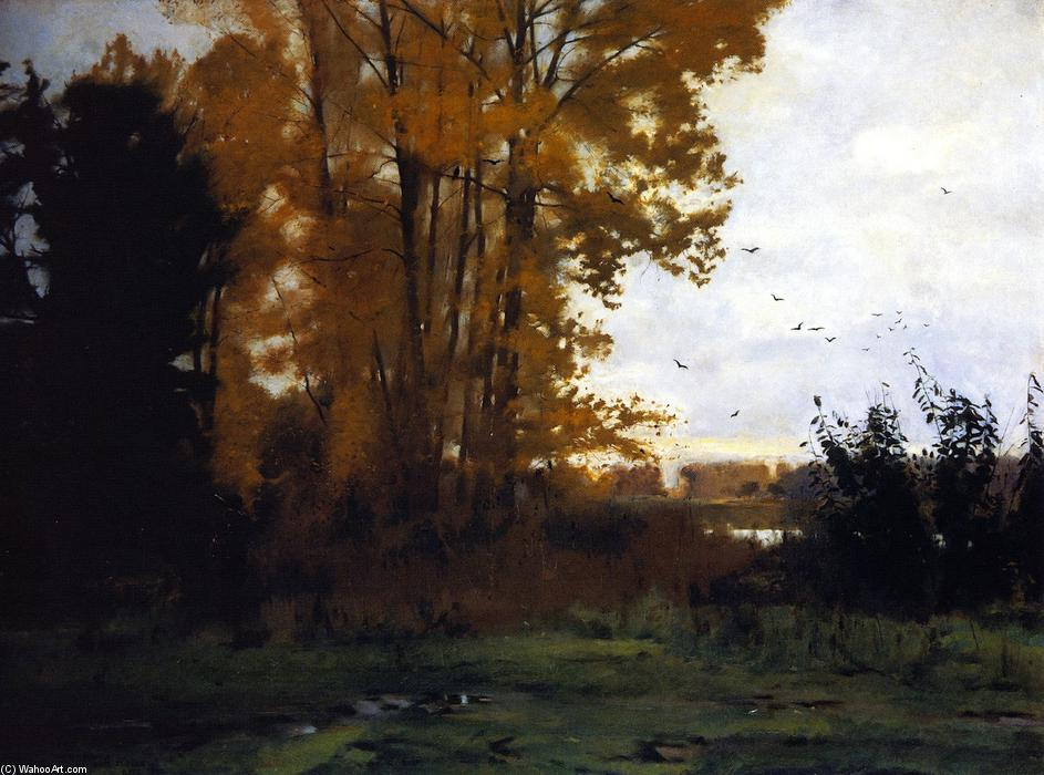 Lacroix, St-Ouen, Oise, Oil On Canvas by Dennis Miller Bunker (1861-1890, United States)