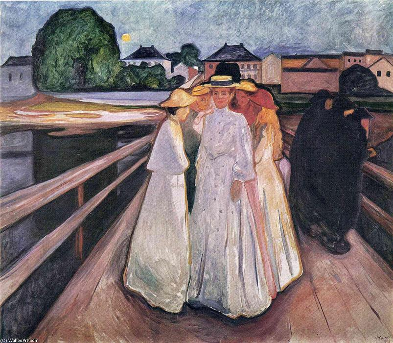The Ladies on the Bridge, Oil On Canvas by Edvard Munch (1863-1944, Norway)
