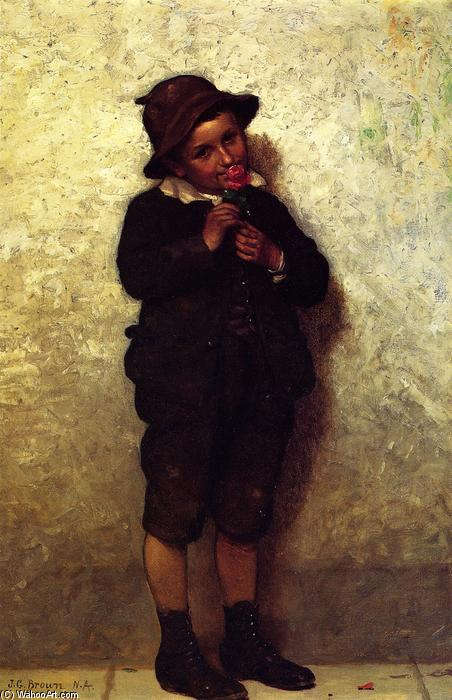 Lad with Flowers, 1881 by John George Brown (1831-1913, United Kingdom) | WahooArt.com