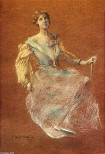 Thomas Wilmer Dewing - Lady in Blue