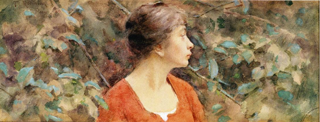 Lady in Red, 1885 by Theodore Robinson (1852-1896, United States) | Oil Painting | WahooArt.com