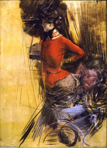 Giovanni Boldini - Lady in Red Coat