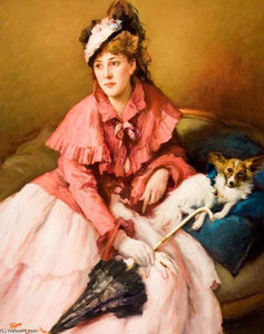Fernand Toussaint - Lady in White Dress with Dog
