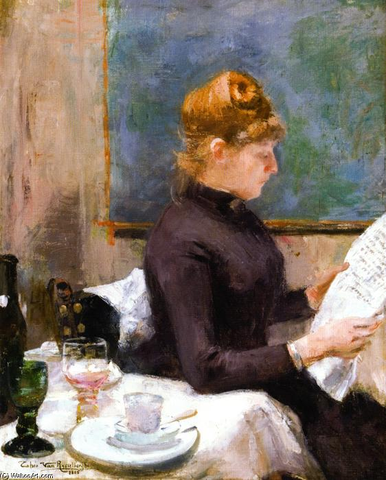 Lady Reading, Oil On Canvas by Theo Van Rysselberghe (1862-1926, Belgium)