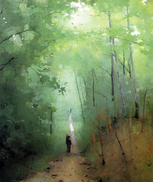 Landscape at Fontainebleau Forest, 1876 by Abbott Handerson Thayer (1849-1921, United States) | Museum Quality Reproductions | WahooArt.com