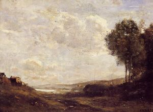 Jean Baptiste Camille Corot - Landscape by the Lake