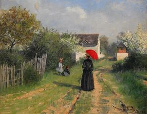 Elin Kleopatra Danielson Gambogi - Landscape in spring (also known as Going to church)