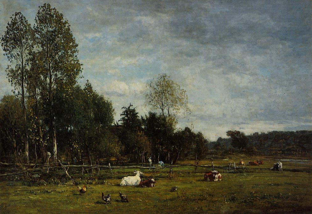 Landscape near Honfleur, Oil On Canvas by Eugène Louis Boudin (1824-1898, France)