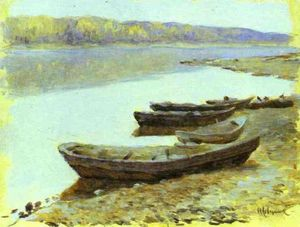 Isaak Ilyich Levitan - Landscape on the Volga. Boats by the Riverbank