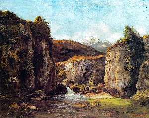 Gustave Courbet - Landscape: The Source among the Rocks of the Doubs