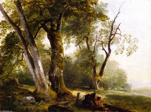 Asher Brown Durand - Landscape with Beach Trees