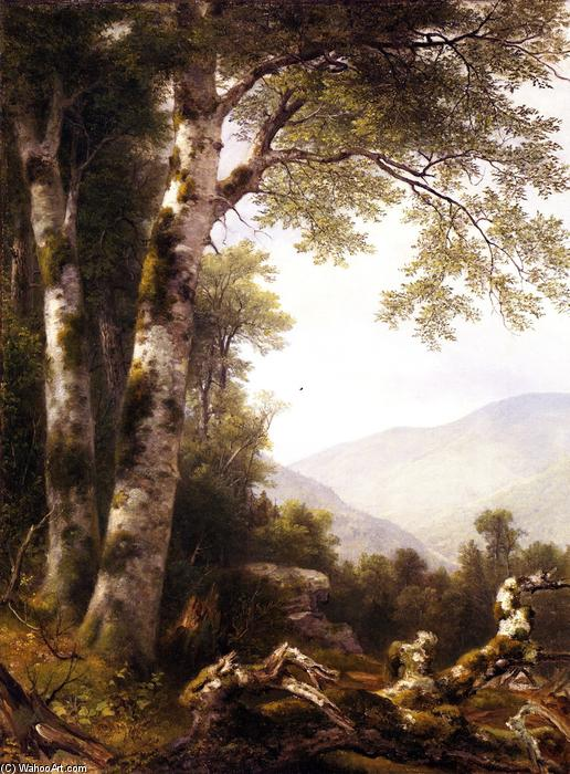 Landscape with Birches, 1855 by Asher Brown Durand (1796-1886, United States) | Painting Copy | WahooArt.com