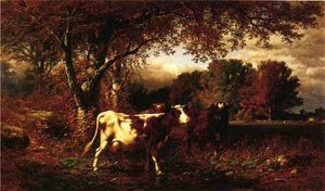 James Mcdougal Hart - Landscape with Cattle