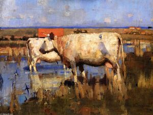 Joseph Crawhall - Landscape with Cattle