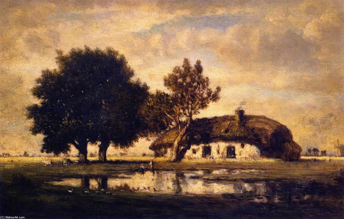 Landscape with Cottage by Gilbert Munger (1837-1903, United States) | Oil Painting | WahooArt.com