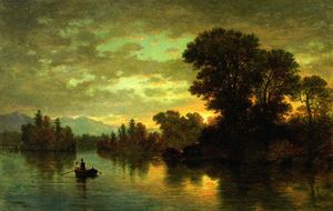 Christopher Pearse Cranch - Landscape with Couple Boating
