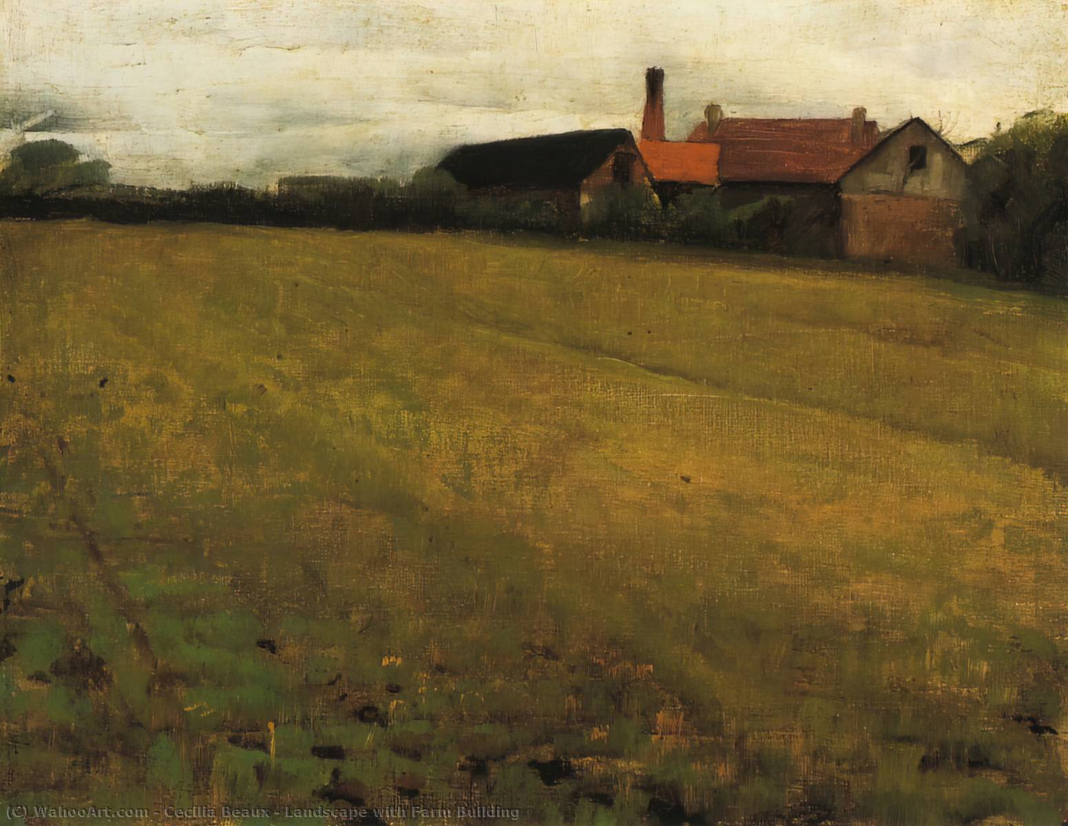 Landscape with Farm Building, Oil On Canvas by Cecilia Beaux (1855-1942, United States)