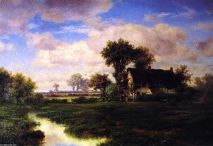 Louis Remy Mignot - Landscape with Farmhouse by a Stream