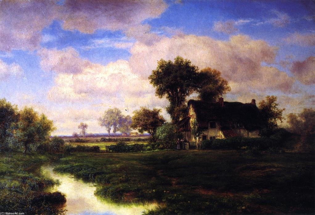 Landscape with Farmhouse by a Stream, Oil On Panel by Louis Remy Mignot (1831-1870, United States)