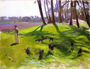 John Singer Sargent - Landscape with Goatherd (also known as Woman Goatherd)