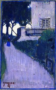 Egon Schiele - Landscape with House, Trees and Female Figure