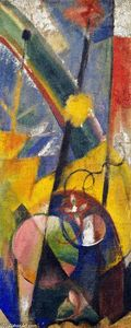 Franz Marc - Landscape with Rainbow (Right-hand part of the Three-part fire screen)