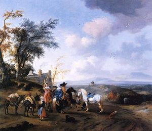 Pieter Wouwerman - Landscape with resting travellers