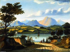 Thomas Chambers - Landscape with a Road Leading to Water