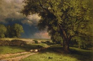 George Inness - Landscape with Sheep