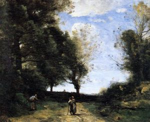 Jean Baptiste Camille Corot - Landscape with Three Figures
