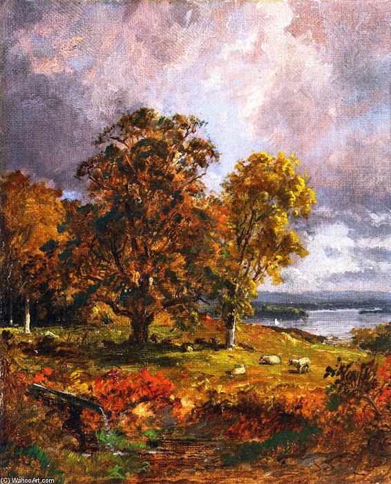 Landscape with Trees, 1885 by Jasper Francis Cropsey (1823-1900, United States) | Painting Copy | WahooArt.com