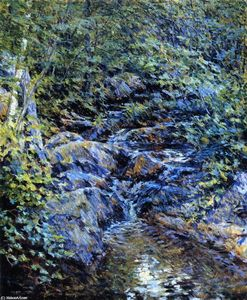 Order Art Reproductions | Landscape with Waterfall, 1890 by Robert Lewis Reid (1862-1929, United States) | WahooArt.com