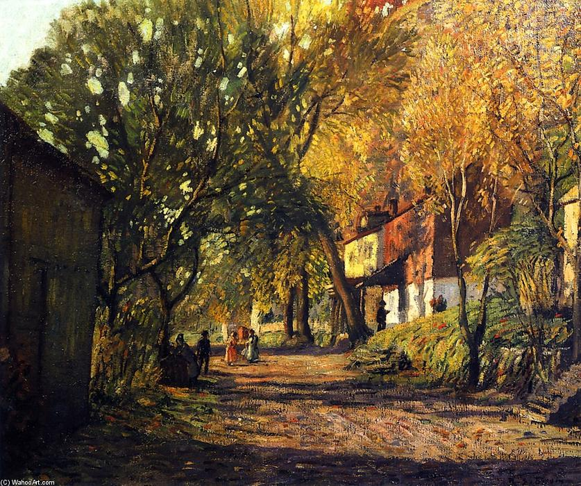 A Lane in New Hope, Oil On Panel by Rae Sloan Bredin (1880-1933, United States)
