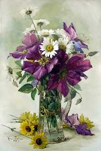 Raoul De Longpre - Large Purple Clematis and White Daisies