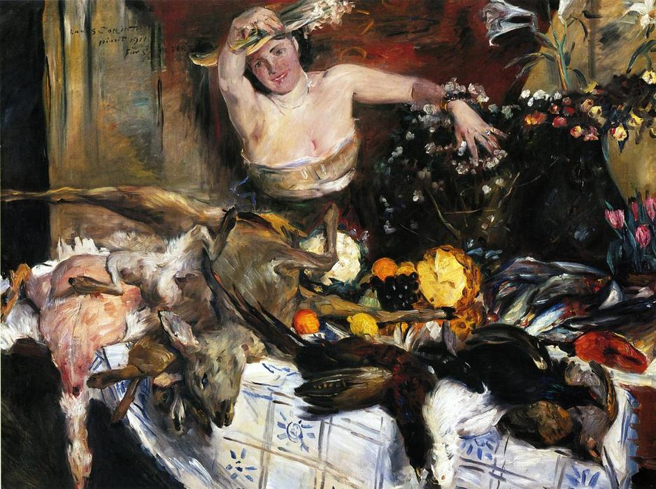 Large Still Life with Figure (also known as Birthday Picture), Oil On Canvas by Lovis Corinth (Franz Heinrich Louis) (1858-1925, Netherlands)