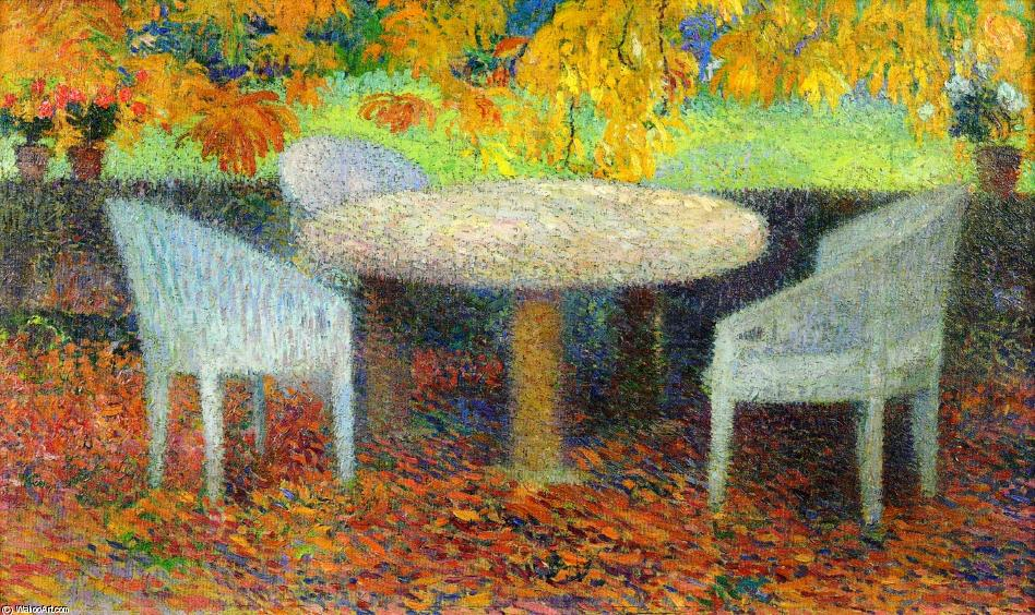 The Large Stone Table under the Chestnut Street at Marquayrol, Oil On Canvas by Henri Jean Guillaume Martin (1860-1860, France)