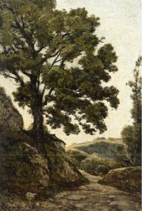 Henri-Joseph Harpignies - A Large Tree - Path in the Countryside