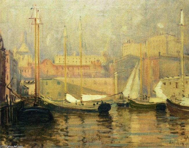 Order Museum Quality Reproductions : Last Look - T Wharf, 1917 by Arthur Clifton Goodwin (1864-1929, United States) | WahooArt.com