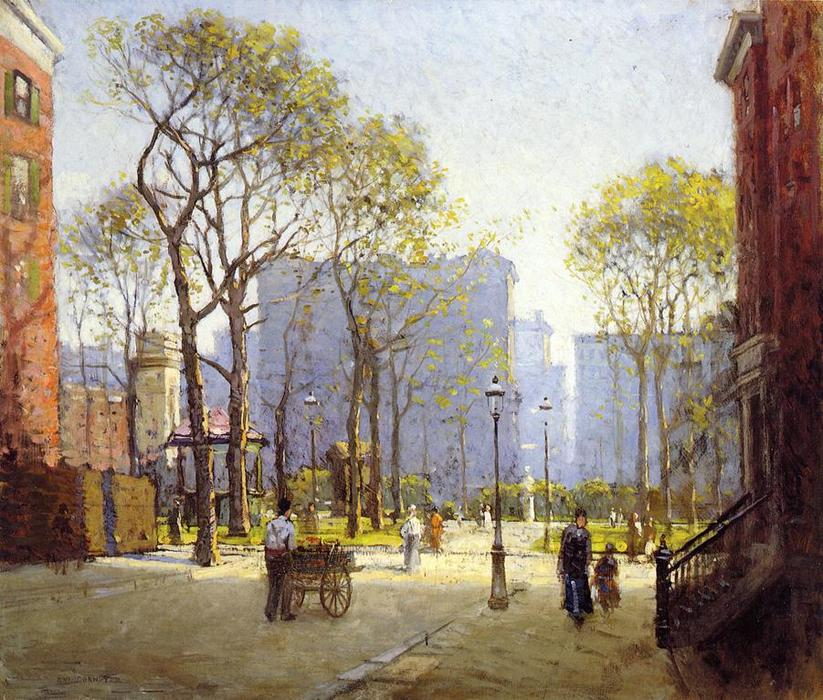 Late Afternoon, Washington Square, 1908 by Paul Cornoyer (1864-1923, United States) | Museum Quality Reproductions | WahooArt.com