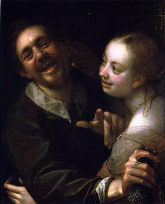 Buy Museum Art Reproductions | Laughing Couple with a Money Purse, 1593 by Hans Von Aachen (1552-1615, Germany) | WahooArt.com