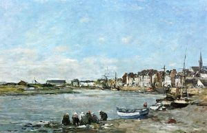 Eugène Louis Boudin - Laundresses on the Banks of the Port of Trouville