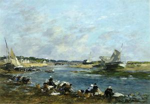 Eugène Louis Boudin - Laundresses on a Branch of the Touques