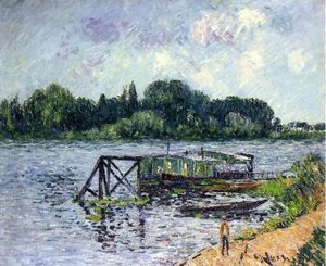 Gustave Loiseau - The Laundry Boat on the Seine at Herblay